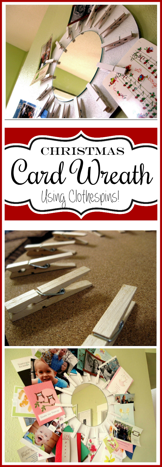 DIY Christmas Card Wreath ... using clothespins! SO SIMPLE! {Sawdust & Embryos}