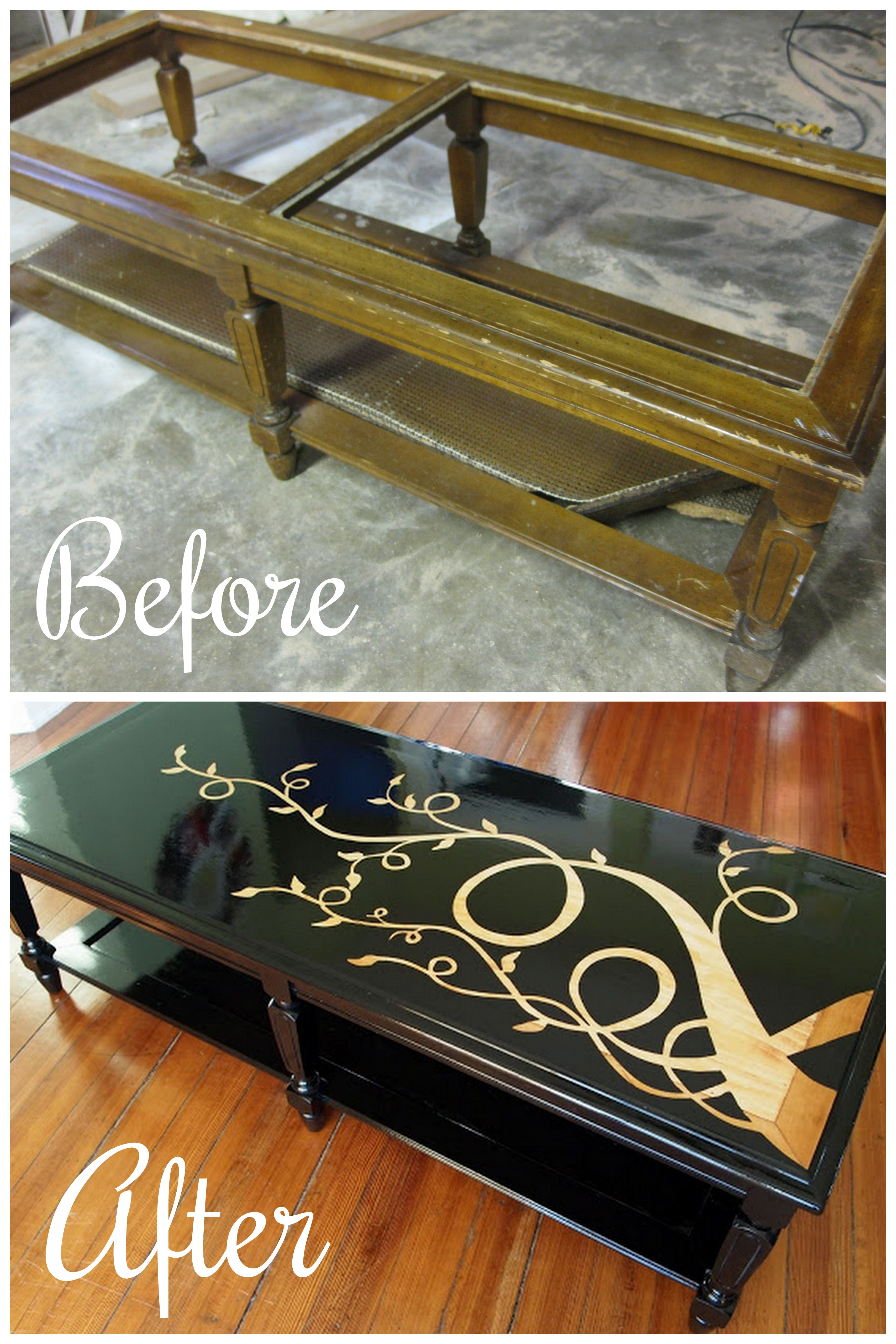 Junky old coffee table turned sleek and gorgeous! That viney design is actually WOOD GRAIN popping through! {Sawdust and Embryos}