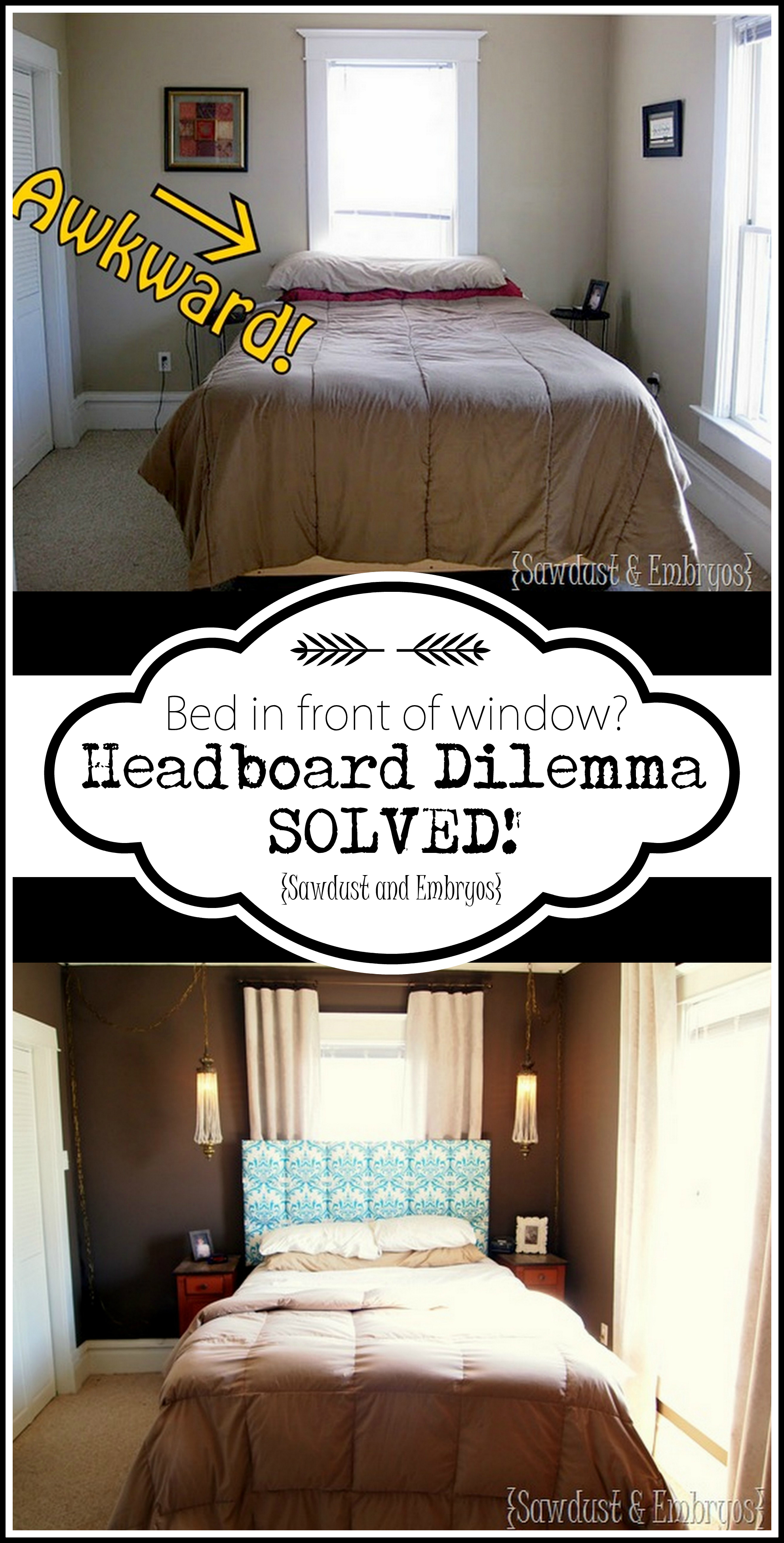 Installing your headboard to the wall over a window... with room for your curtains to hang! {Sawdust and Embryos}