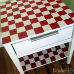 Leah's Checkerboard End Table–and a Friggin AWESOME Stencil!