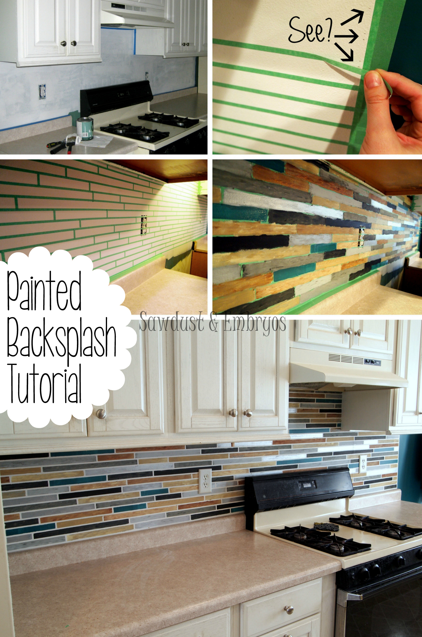 PAINT your backsplash to look like custom tile! {Sawdust & Embryos}
