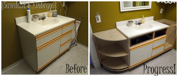 progress extending the bathroom vanity and building a butcher block counter reality daydream