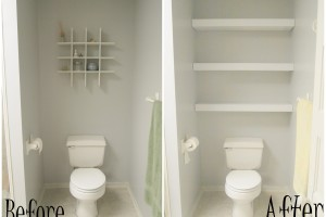 Floating Shelves over Toilet {Sawdust and Embryos}