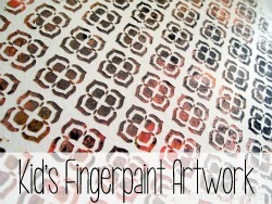 Apply a vinyl stencil to a canvas, and let the kids finger paint! Then when you remove the vinyl, it creates a beautiful pattern.
