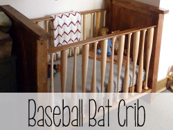 DIY Baby Crib... With BASEBALL BATS as the rungs!