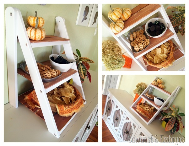 DIY Mini Ladder Shelf for Serving and Entertaining! {Sawdust and Embryos}