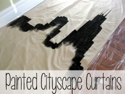 DIY Painted Cityscape Curtains {Reality Daydream}