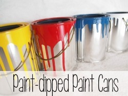 Dip plain paint cans in oil-based paint to make these fun planters or craft storage {Reality Daydream}