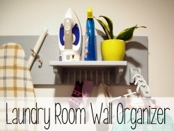 Functional wall-mounted storage solution for the laundry room.