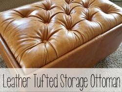 How to build this Leather Upholstered Storage Ottoman... with diamon tufting! {Reality Daydream}