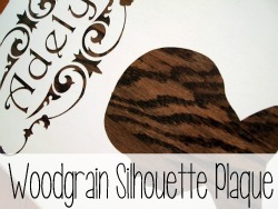 Make a silhouette plaque of your little one with woodgrain peeking through!