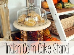 Make this harvest fall-themed Indian Corn Cake Stand.