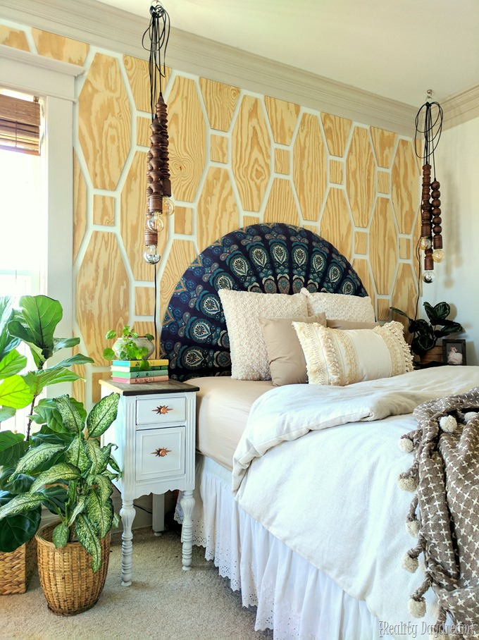 Our-boho-master-bedroom-makeover-with-a-tutorial-for-these-hanging-wooden-pendant-lights-using-t
