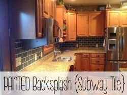 PAINT your backsplash to look like slate subway tiles.