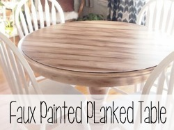 Paint a plain table surface to look like legit planks of wood.