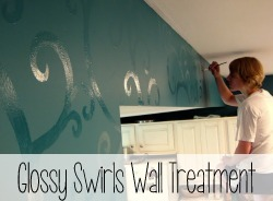 Paint glossy swirls over flat paint of the same color to create a gorgeous subtle texture... perfect for an accent wall!