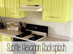 Painted shimmery hexagon backsplash