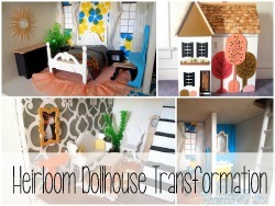 See the adorable transformation on this heirloom Dollhouse!
