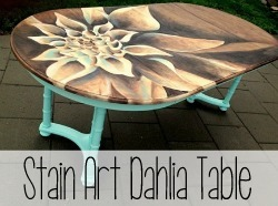 Shading with Wood Stain... Dahlia artwork on a Dining Table!