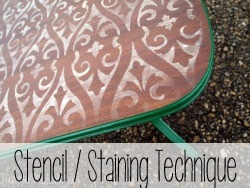 Stencil - Sand - Stain Technique for furniture!