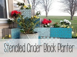 Stenciled Cinter Block Corner Planter {Reality Daydream}