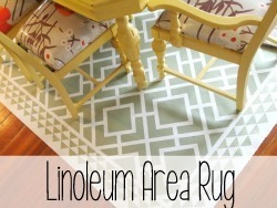Use a remnant of Linoleum as an area rug under the dining table! {Reality Daydream}