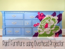 Use an overhead projecter to paint gorgeous detailed designs on furniture