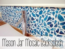 Use broken mason jar pieces to create a super unique backsplash! {Reality Daydream}