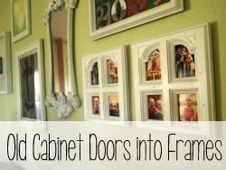 Use old cabinet doors to make unique picture frames!