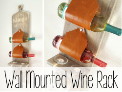 Wall Mounted Wine Rack ...with leather slings!