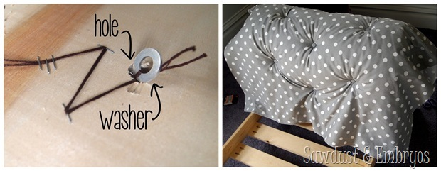 Diamond Upholstering Tutorial for Toddler Bed Fainting Couch! {Sawdust and Embryos}