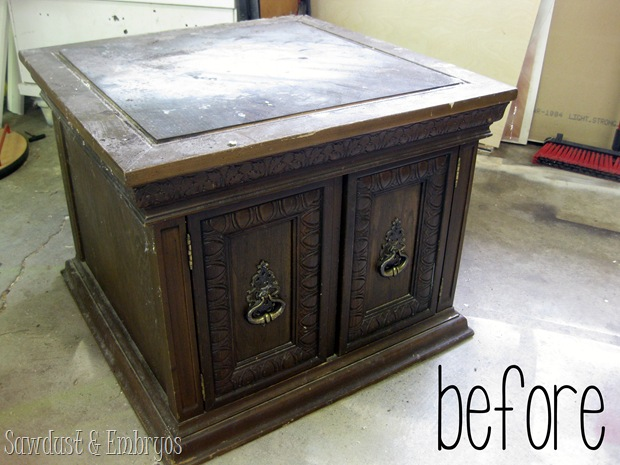 End Table 'before' Picture {Sawdust and Embryos}