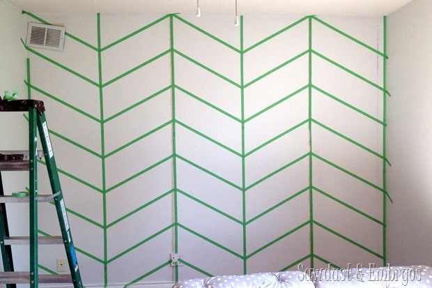 Herringbone Accent Wall {Sawdust and Embryos}