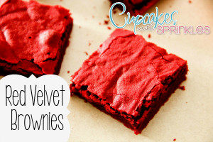 Holiday Red Velvet Brownies {Cupcakes with Sprinkles}