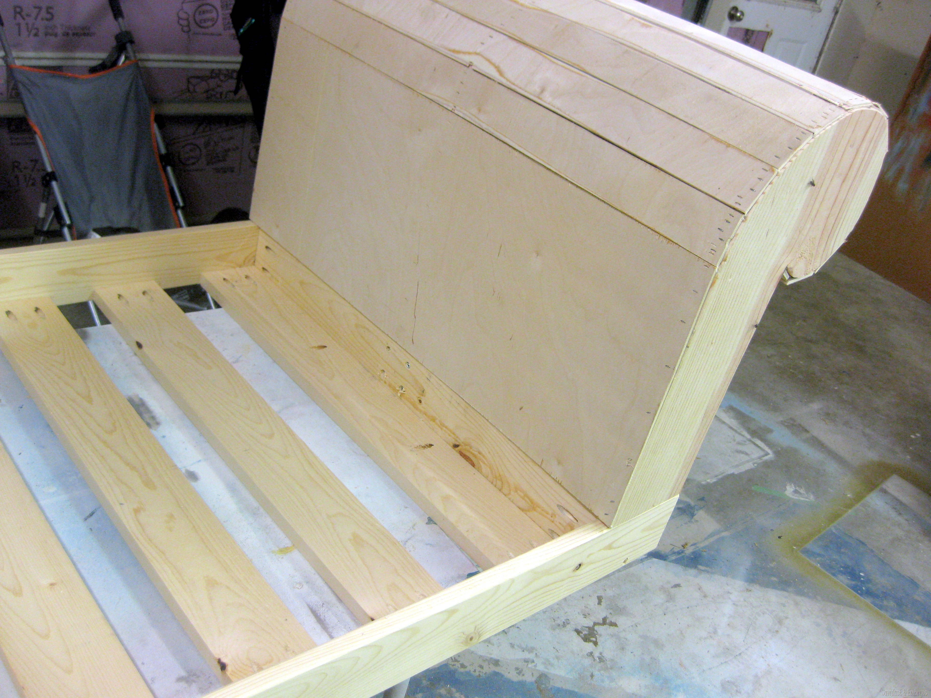 sheet of 1 2 plywood for the backboard of the fainting couch