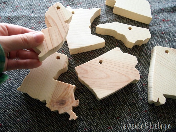 Mini Wooden States as Christmas Ornaments {Sawdust and Embryos}
