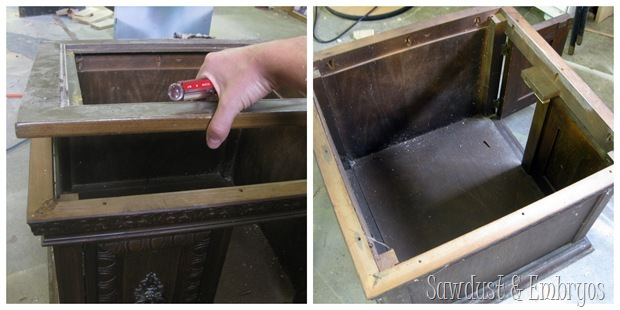Removing old surface on end table {Sawdust and Embryos}