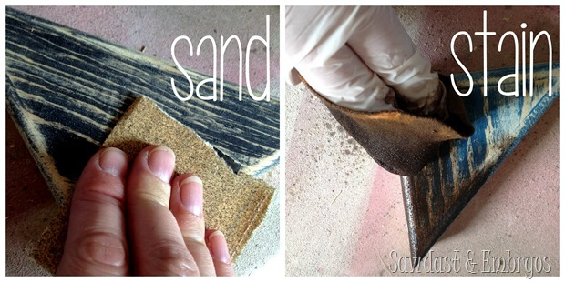 Sand and Stain {End Table Transformation by Sawdust and Embryos}