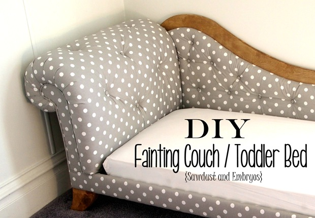 Step-by-Step instructions to build and upholster a Mini Fainting Couch (Toddler Bed!)