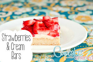 Strawberry and Cream Bars {Cupcakes with Sprinkles}