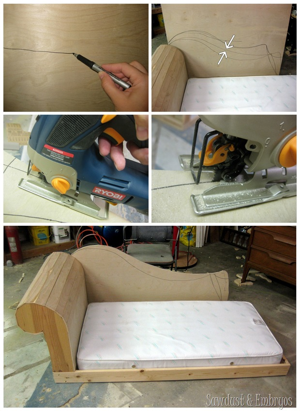 Toddler bed built to look like a fainting couch {Sawdust and Embryos}
