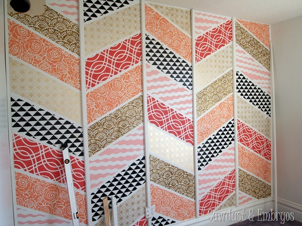 Accent Wall- Herringbone Patchwork Stenciled! {Sawdust and Embryos}