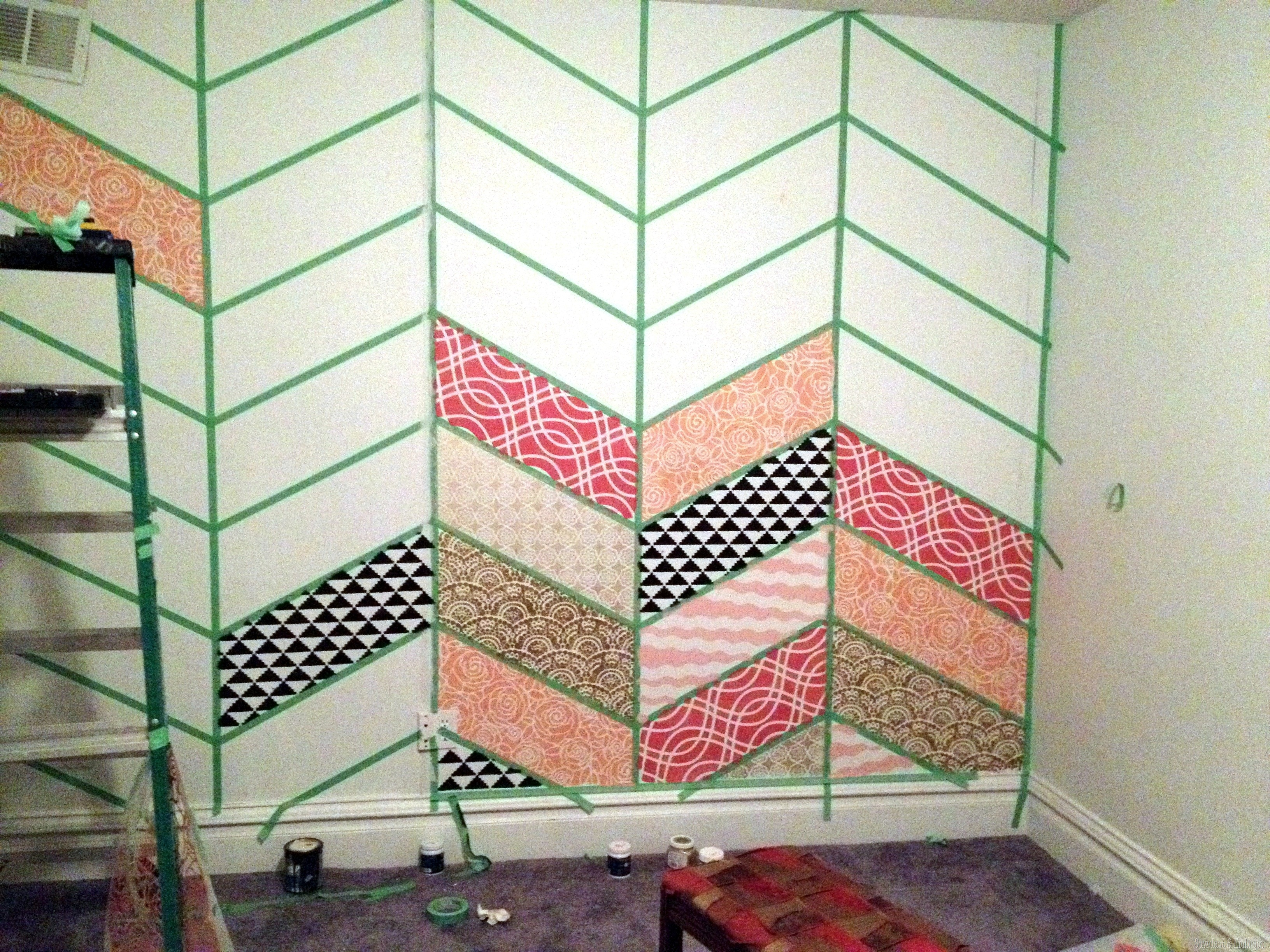 Stenciled herringbone patchwork wall reality daydream creating a patchwork stenciled accent wall sawdust and embryos amipublicfo Image collections
