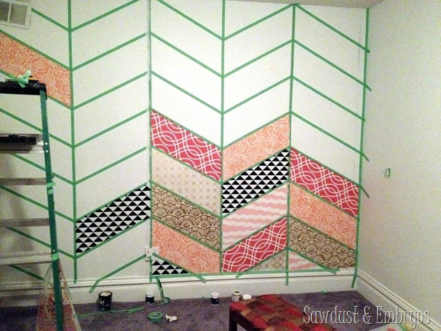 Creating a Patchwork Stenciled Accent Wall {Sawdust and Embryos}