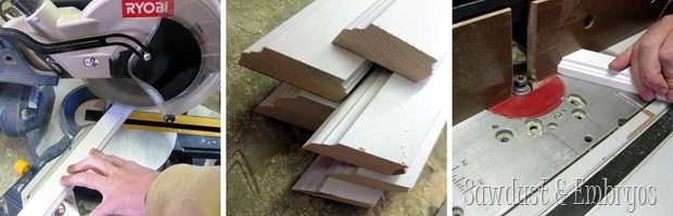 Cutting Angled trim pieces for patchwork accent wall herringbone pattern {Sawdust and Embryos}