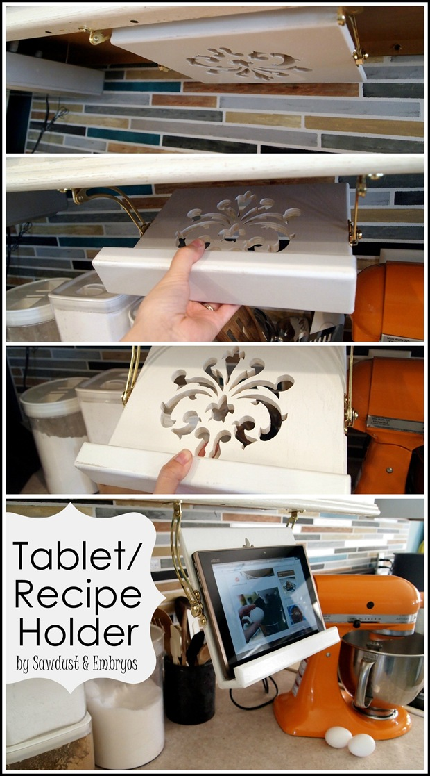 DIY Tablet (or Recipe Book) Holder for under cabinets