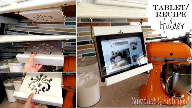 DIY Tablet or Recipe Book Holder that stowes away under your cabinets when not in use! {Sawdust and Embryos}