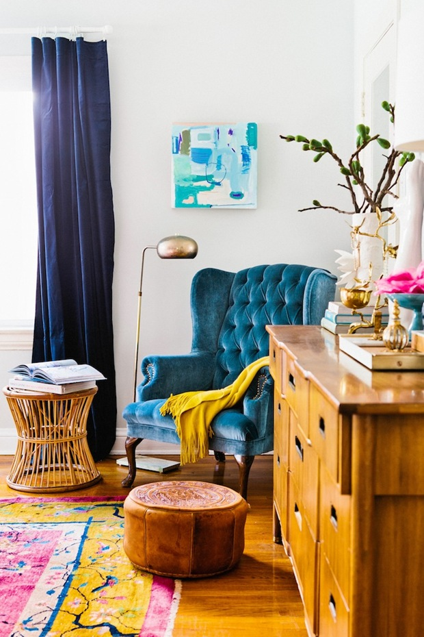 Exposed wood with white and pops of color