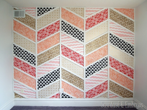 Herringbone Stenciled Accent Wall {Sawdust and Embryos}