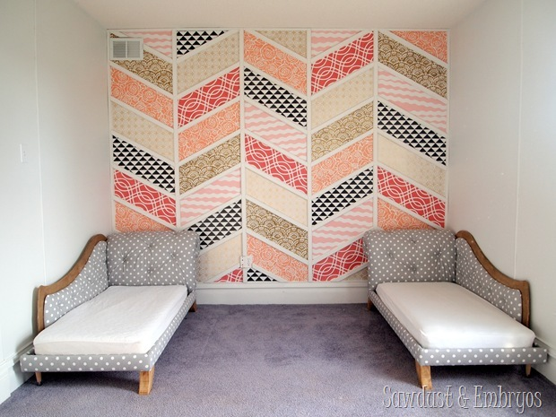 Patchwork Herringbone Accent Wall {Sawdust and Embryos}
